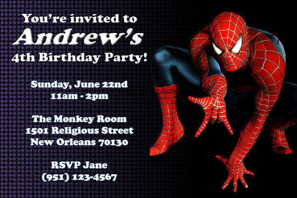 -Sample Spiderman Birthday Invitation Card