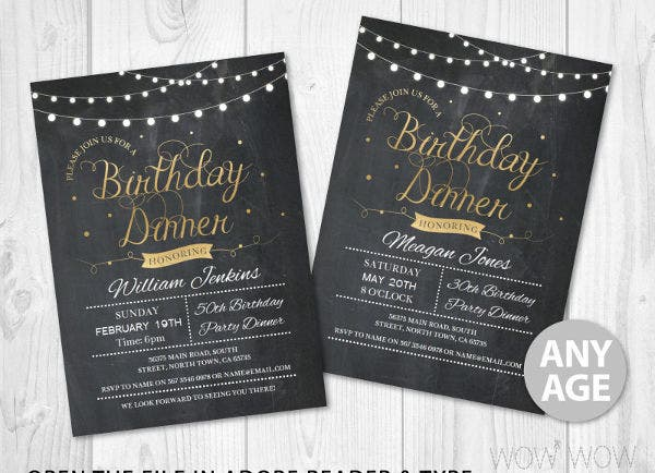 sample birthday dinner party invitation