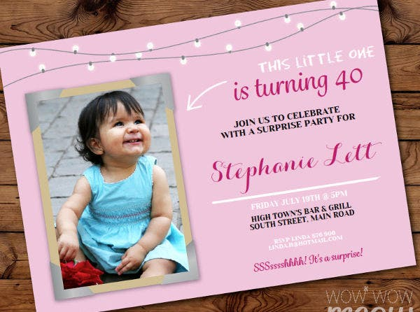 sample baby girl birthday invitation