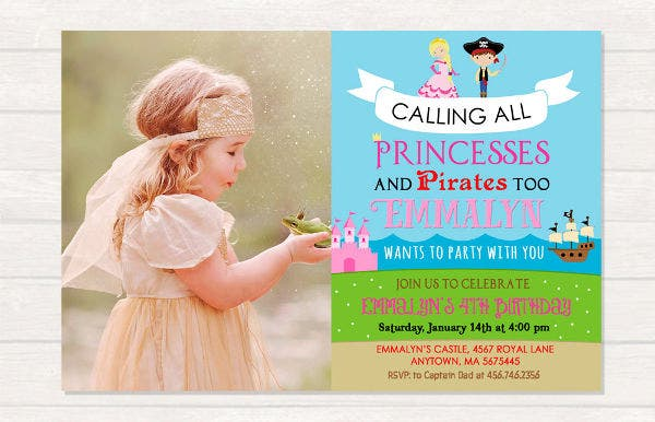 sample princess photo birthday invitation