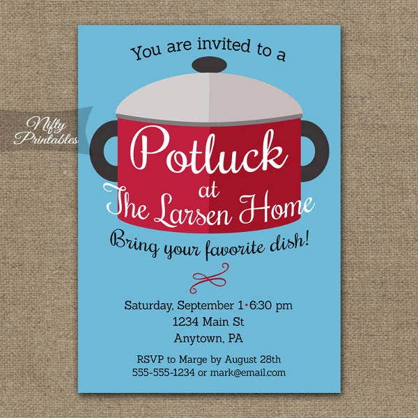 9 Potluck Invitations Printable Psd Vector Eps Format