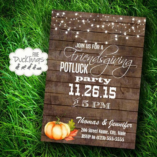rustic potluck invitation