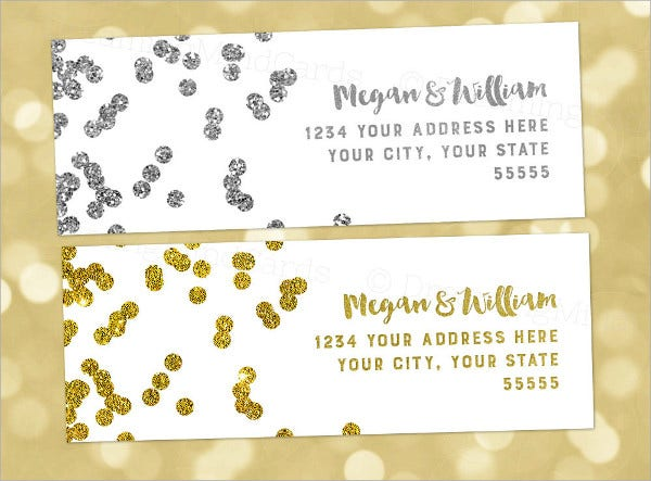 gold wedding address label