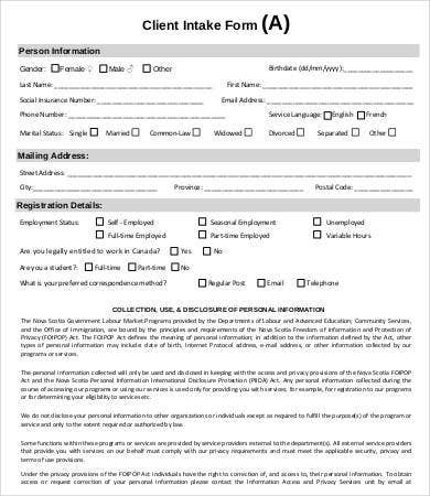 Case Management Client Intake Form  Client Information Form Template
