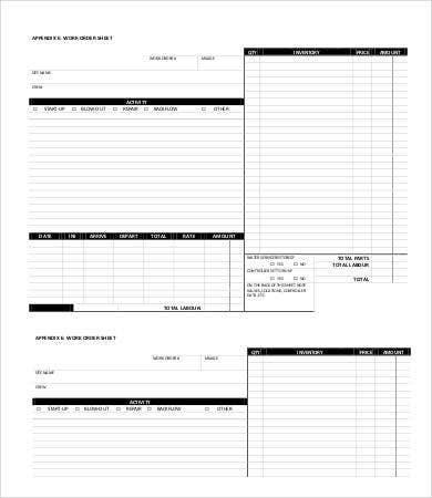 work order sheet template