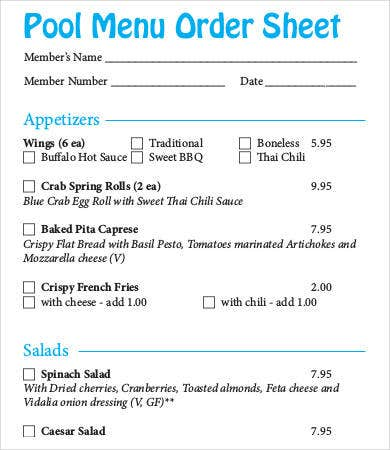 pool menu order sheet template