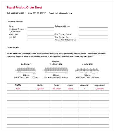 product order sheet template
