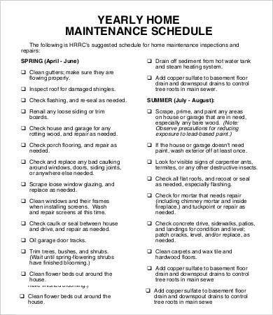 Yearly Home Maintenance Schedule Template