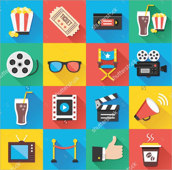 Colorful Entertainment Icons Set