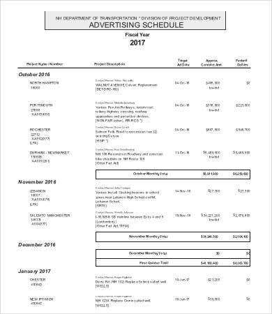 Yearly Advertising Schedule Template