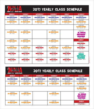Yearly Class Schedule Template