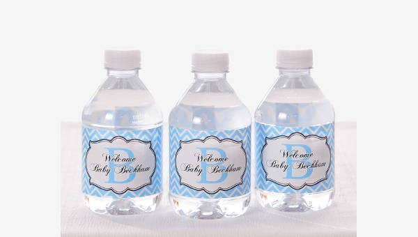 It is a graphic of Free Printable Water Bottle Labels for Baby Shower within gender reveal party