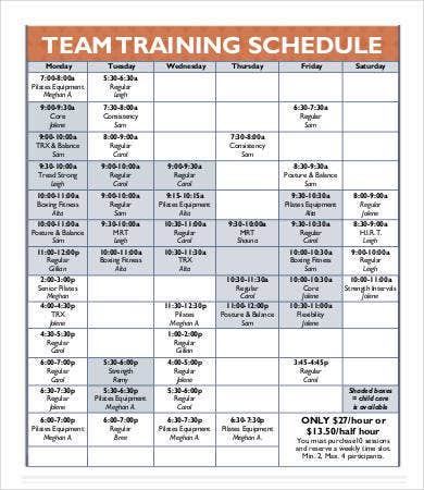 Team schedule template 9 free word excel pdf format for Team training plan template