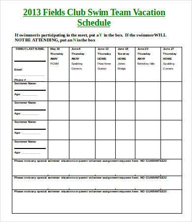 Fields Swim Team Vacation Schedule Template