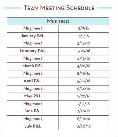 Team Meeting Schedule Template