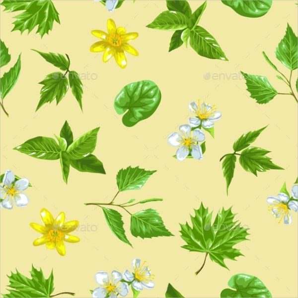 Spring Green Leaves Pattern