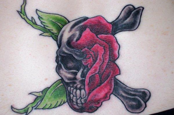 skull-rose-tattoo