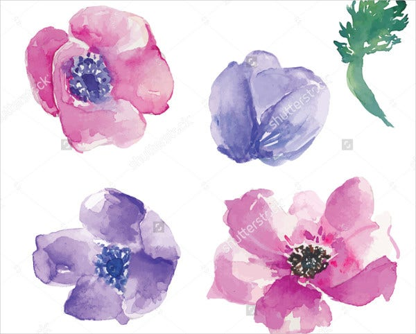 Watercolor Vector Flower