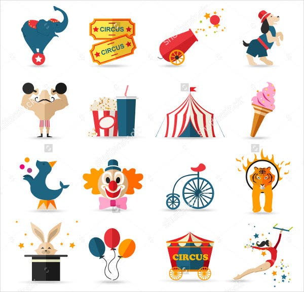 circus-entertainment-icons-set