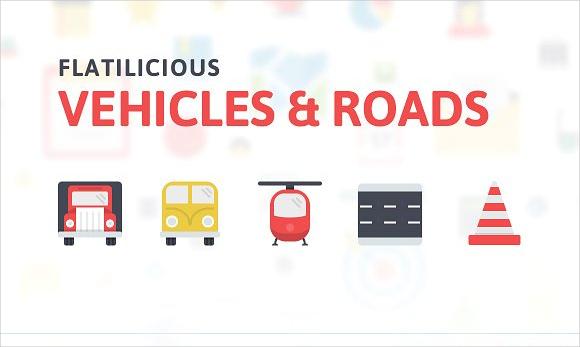 flat vehicle icons