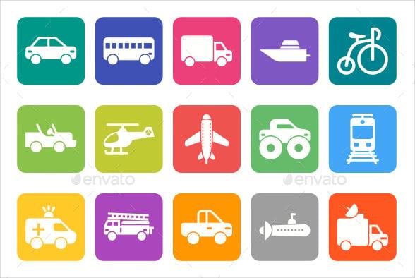flat rounded vehicle icons