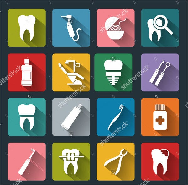 colorful long shadow dental icons