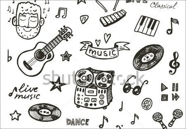 music hand drawn vector
