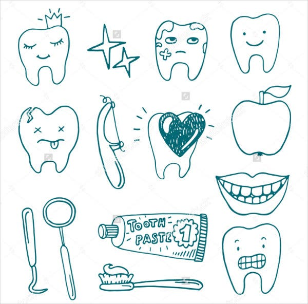 hand drawn dental icons set