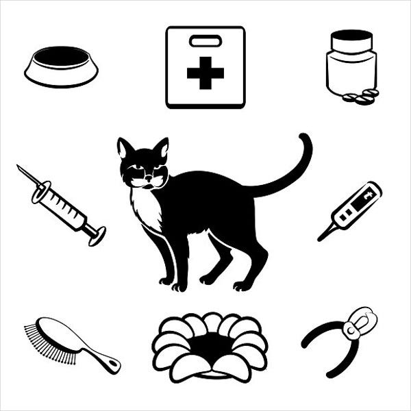 cat-veterinary-clinic-icons