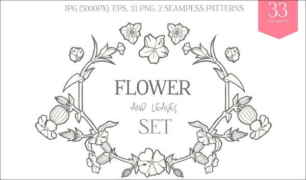 floral hand drawn vector