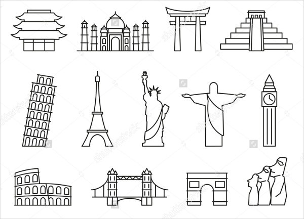 landmark-outline-vector-icons