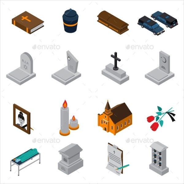 Funeral Isometric Icons