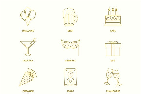 party-outline-icons