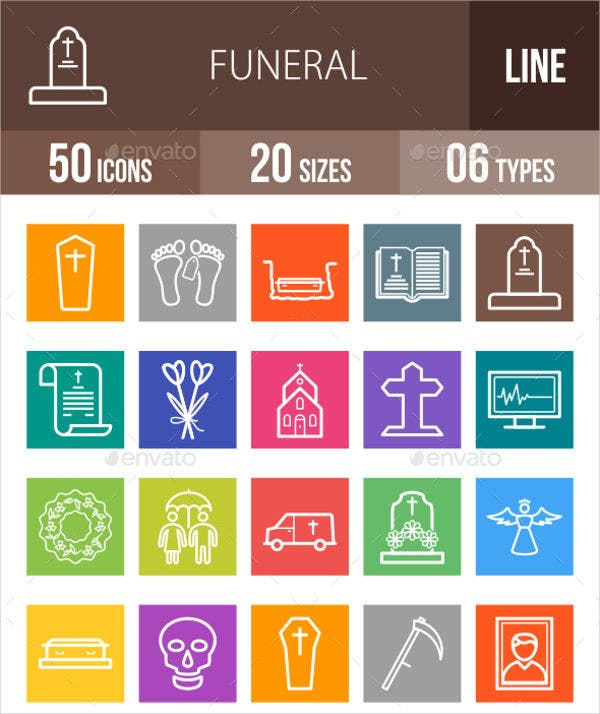 multicolor funeral icons set
