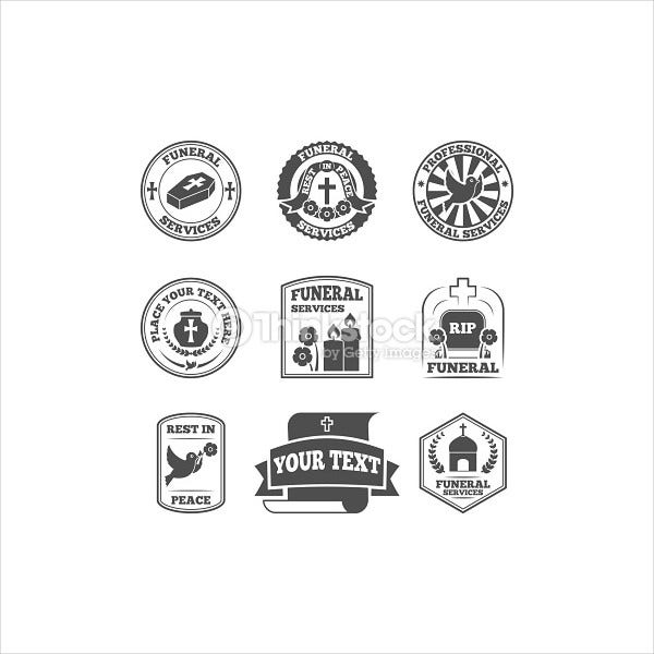 funeral labels icons