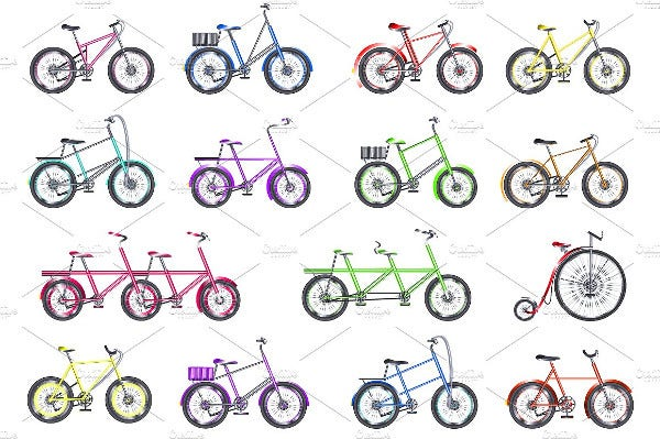 Flat Bicycle Icons Set