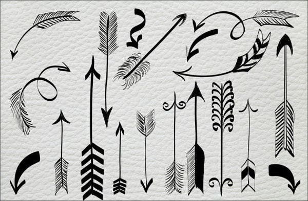 hand drawn vector arrows