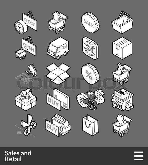 Sales and Retails Isometric Icons