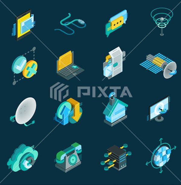 Isometric Telecommunication Icons