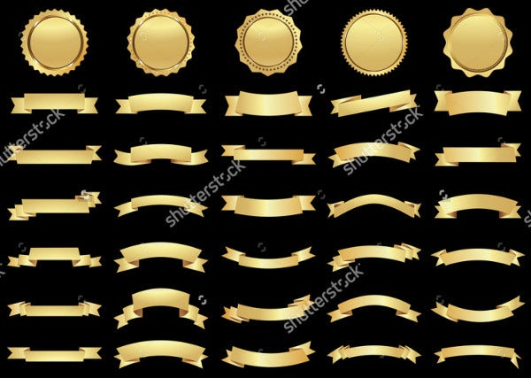 gold color ribbon banner