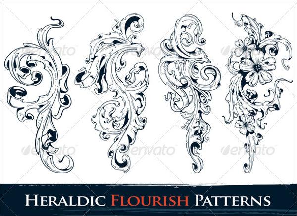 heraldic flourish pattern
