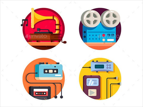 Music Player Vintage Icons