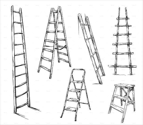 ladders-drawing-vector
