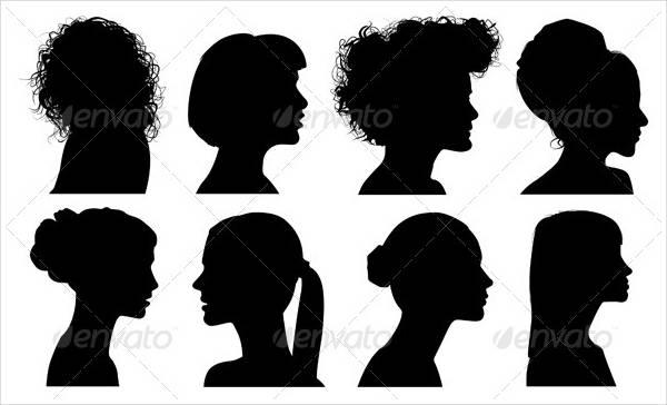 face woman profile vector silhouette