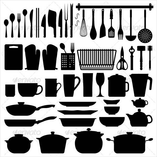 kitchen utensils silhouette vector