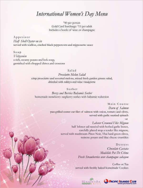 women u0026 39 s day menu