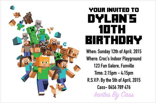 image about Minecraft Invitations Printable referred to as 15+ Birthday Invitation Templates in just PDF No cost Top quality