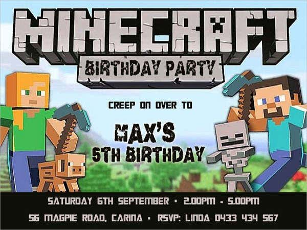 Birthday Invitation Templates in PDF – Mine Craft Invitation Template