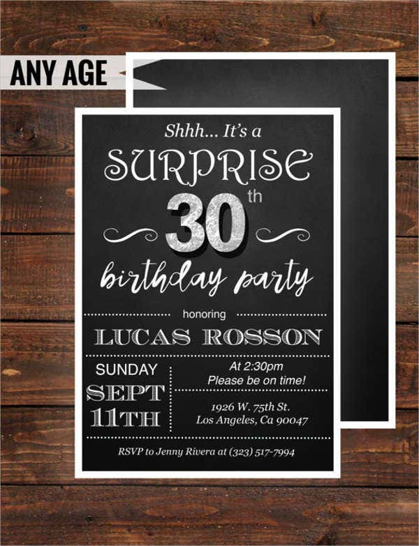 30th surprise birthday invitation