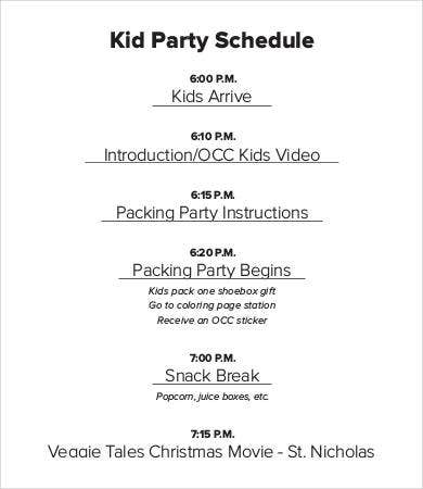 Kid Party Schedule